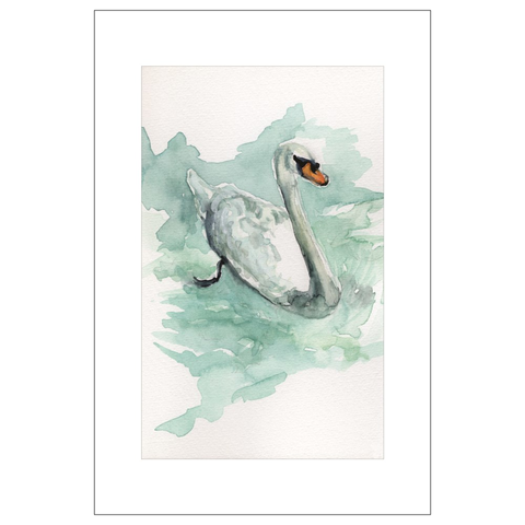 Swan, St. Gilgen, Austria Watercolor Postcards