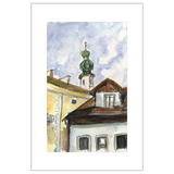 St. Gilgen Rooftops, Austria Watercolor Postcards