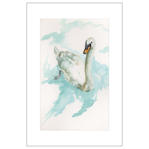 Swan on Wolfgangsee Watercolor Postcards