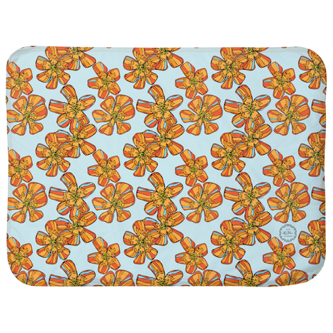 Pure Love Orange Flowers Sherpa Blankets (Infant Sizes 30 x 40)