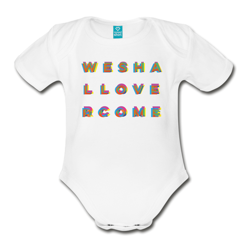 Rainbow We Shall Overcome Organic Short Sleeve Baby Bodysuit - white