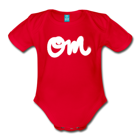 Om Random Act Organic Short Sleeve Baby Bodysuit - red