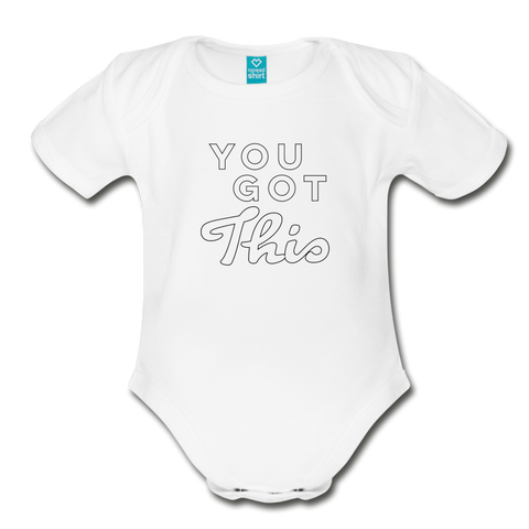 You Got This Wings Organic Short Sleeve Baby Bodysuit - white