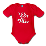You Got This Bright Wings Organic Short Sleeve Baby Bodysuit - red