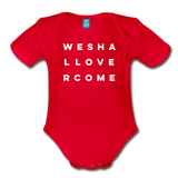We Shall Overcome Random Act Organic Short Sleeve Baby Bodysuit - red