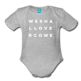 We Shall Overcome Random Act Organic Short Sleeve Baby Bodysuit - heather gray