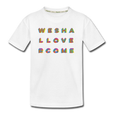 Rainbow We Shall Overcome Kid's Premium Organic T-Shirt - white