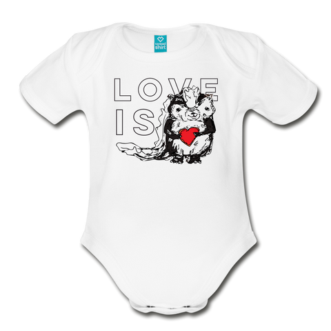 Love Is Skunk Organic Short Sleeve Baby Bodysuit - white