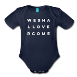 We Shall Overcome Random Act Organic Short Sleeve Baby Bodysuit - dark navy