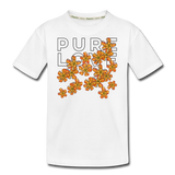 Pure Love Tangerine Flowers Kid's Premium Organic T-Shirt - white