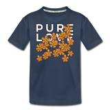 Pure Love Tangerine Flowers Kid's Premium Organic T-Shirt - navy