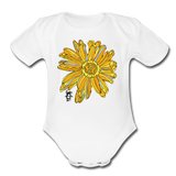 Sunflower Random Act Organic Cotton Short Sleeve Baby Bodysuit - white