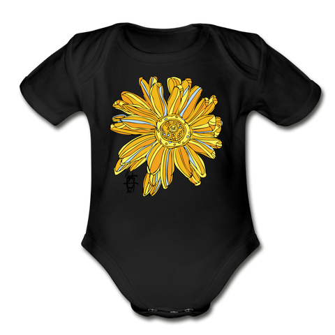Sunflower Random Act Organic Cotton Short Sleeve Baby Bodysuit - black