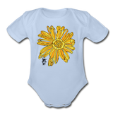 Sunflower Random Act Organic Cotton Short Sleeve Baby Bodysuit - sky