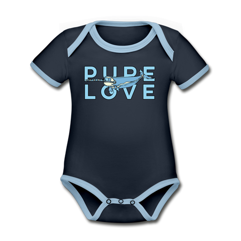 Pure Love Narwhal Organic Cotton Contrast Short Sleeve Baby Bodysuit - navy/sky