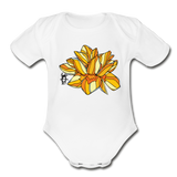Orange Lotus Random Act Organic Cotton Short Sleeve Baby Bodysuit - white