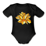 Orange Lotus Random Act Organic Cotton Short Sleeve Baby Bodysuit - black