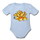 Orange Lotus Random Act Organic Cotton Short Sleeve Baby Bodysuit - sky