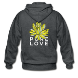 Glow Random Act Pure Love Lotus Heavy Blend Boyfriend Zip Hoodie - deep heather