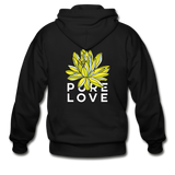 Glow Random Act Pure Love Lotus Heavy Blend Boyfriend Zip Hoodie - black