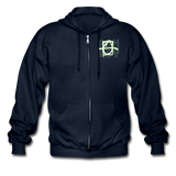 Glow Random Act Pure Love Lotus Heavy Blend Boyfriend Zip Hoodie - navy