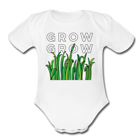 Grow Grow Grass Organic Cotton Contrast Short Sleeve Baby Bodysuit - white