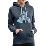 Blue Iris Wings Random Act Women's Premium Hoodie - heather denim