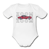Zoom Little Red Corvette Organic Contrast Short Sleeve Baby Bodysuit - white