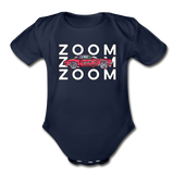 Zoom Little Red Corvette Organic Contrast Short Sleeve Baby Bodysuit - dark navy