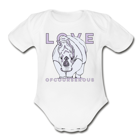 Love Ofourserous Rhino Organic Cotton Short Sleeve Baby Bodysuit - white
