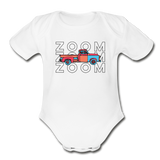 Zoom Zoom Old Truck Organic Cotton Contrast Short Sleeve Baby Bodysuit - white