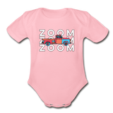 Zoom Zoom Old Truck Organic Cotton Contrast Short Sleeve Baby Bodysuit - light pink