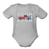 Zoom Zoom Old Truck Organic Cotton Contrast Short Sleeve Baby Bodysuit - heather gray