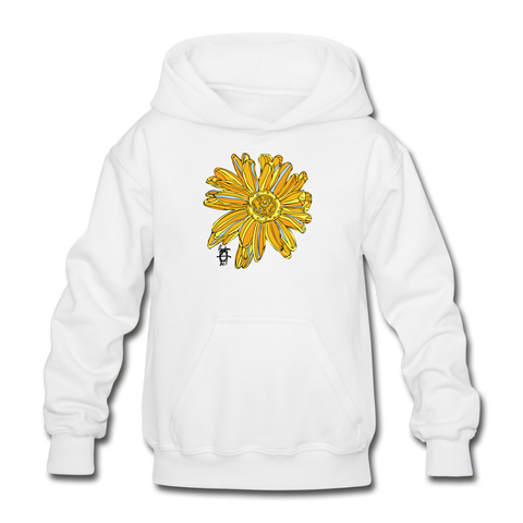 Sunflower Heavy Blend Surfer Youth Hoodie - white