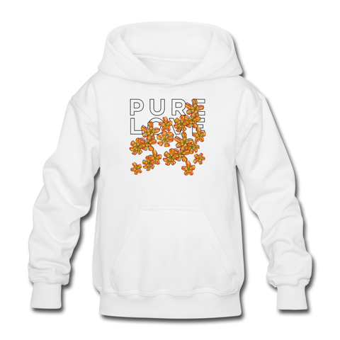 Pure Love Tangerine Flowers Heavy Blend Youth Hoodie - white