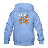 Pure Love Tangerine Flowers Heavy Blend Youth Hoodie - carolina blue