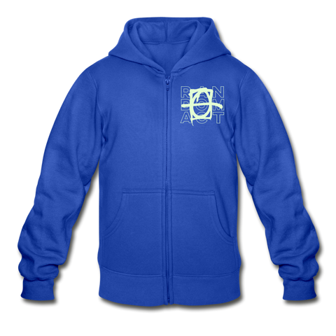 Neon Random Act Wings Heavy Blend Youth Zip Hoodie - royal blue