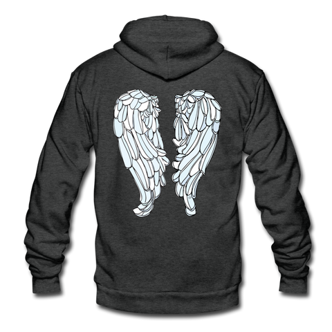 Sparkle Random Act Wings Unisex Fleece Zip Hoodie - charcoal gray