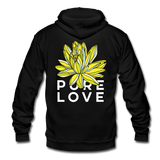 Pure Love Lotus Unisex Surfer Fleece Zip Hoodie - black