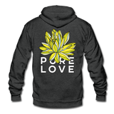 Pure Love Lotus Unisex Surfer Fleece Zip Hoodie - charcoal gray