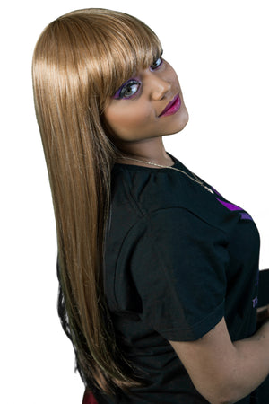 Luxurious Hair Wig, full cap, premium fiber synthetic wig, straight