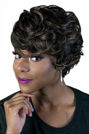 Luxurious Hair Wig, premium quality Celeb-H, Sister Wig, tapered side, slight curl, low heat