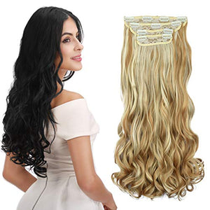 Synthetic Hair Extensions Clip in Straight Curly Wavy 4 PC Set Thick Hairpiece: