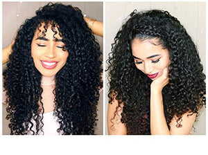 13x6 Lace Front Human Hair Wig 150% Density Deep Curly Brazilian Lace Frontal Wig Glueless Black Remy