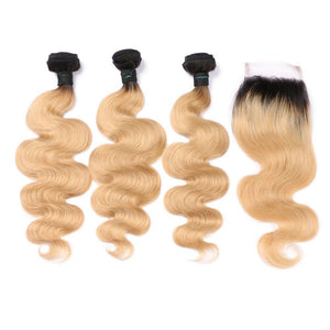 Brazilian Remy Human Hair Ombre Dark Blonde Hair 3 Bundles With 4*4 Lace Top Closure 1b/27 Color Body Wave Hair Wefts