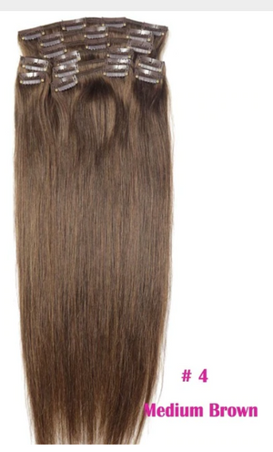 "Human Hair Extensions Full Head Set Natural Straight Hair 140g-280g 16""-24"" Machine Made Remy Hair 10pc Set Clips In"