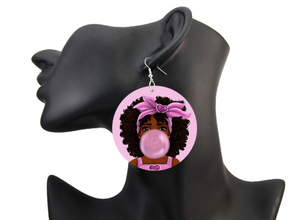 Lovely Afro Girl Bubble Gum Wooden Drop Earrings Natural Hair