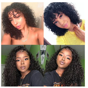 Deep Curly 13x6 Lace Front Human Hair Wig With Bangs 150 Density Brazilian Short Bob Lace Frontal Wig Pre Plucked Remy