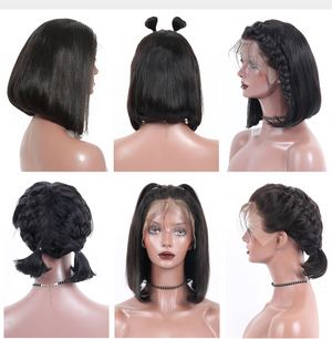 13x6 Lace Front Wig Short Human Hair Wig Straight Bob Glueless Natural Hairline With Baby Hair Black Remy
