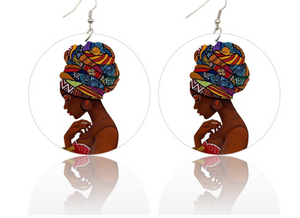 Afrocentric headwrap wooden ethnic earrings